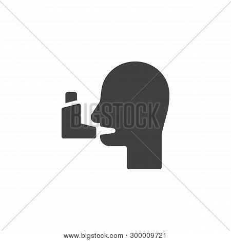 Bronchial Asthma Vector Icon. Man And Inhaler Filled Flat Sign For Mobile Concept And Web Design. As
