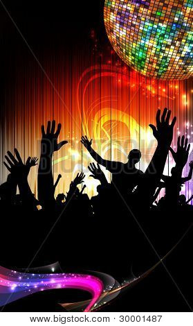 Group of people. Crowd infront of a stage. Vector