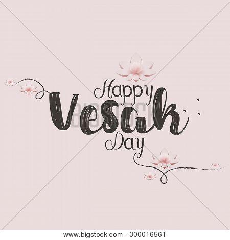 Vesak Day Hand Draw Card. Vector Illustration With Lotus Flower