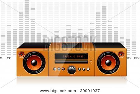 Orange boombox with signal spectrum, detailed vector poster