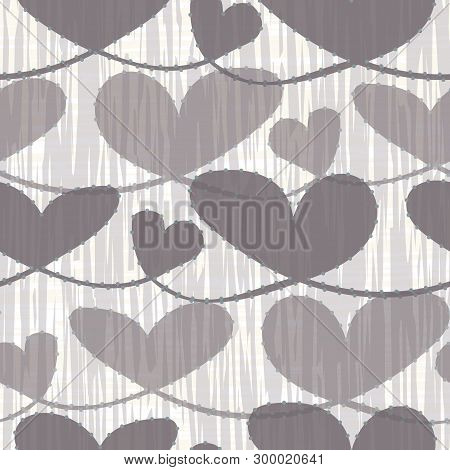 Hand Drawn Neutral Brown Pastel Hearts With Watercolor Striped Texture. Seamless Vector Pattern On C