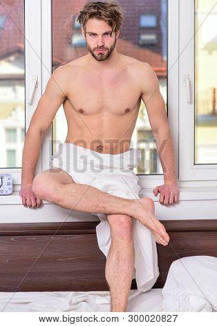 Enjoy Morning Begin Awesome Day. Macho Sexy Muscular Torso Guy Relaxing Near Window Bedroom. Health