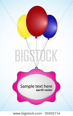 Three Baloons With Label