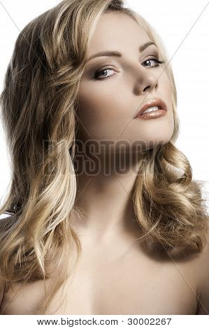 Blond Young Girl With Stylish Curled Hair