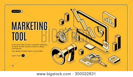 Marketing E-commerce, Data Analysis Tool Isometric Web Banner. Digital Business Content, Column Char