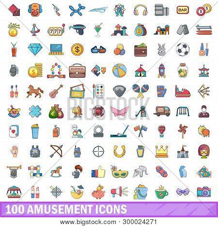 100 Amusement Icons Set. Cartoon Illustration Of 100 Amusement Icons Isolated On White Background
