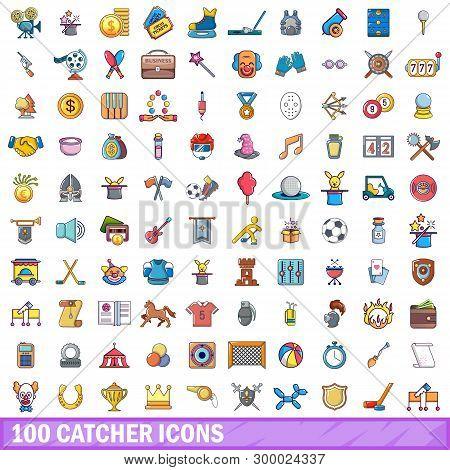 100 Catcher Icons Set. Cartoon Illustration Of 100 Catcher Icons Isolated On White Background