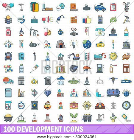 100 Development Icons Set. Cartoon Illustration Of 100 Development Icons Isolated On White Backgroun
