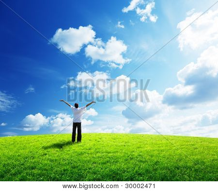 young man rest on field