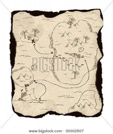 Old treasure map with burned edges. On white background, vector illustration.