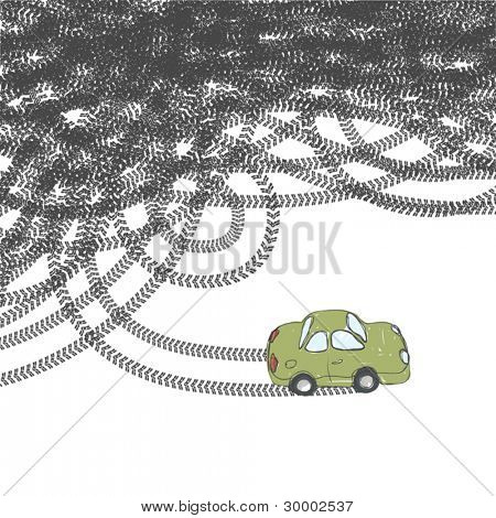 Car and tire tracks. Vector