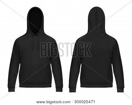 Isolated 3d Or Realistic Man Hoodie. Black Men Hoody With Muff Or Kangaroo Pocket, Drawstrings. Swea