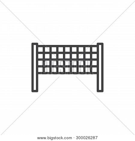 Volleyball Net Line Icon. Badminton Net Linear Style Sign For Mobile Concept And Web Design. Beach V