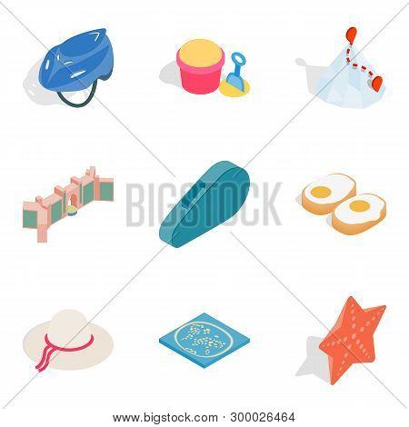 Active Lifestyle Icons Set. Isometric Set Of 9 Active Lifestyle Icons For Web Isolated On White Back