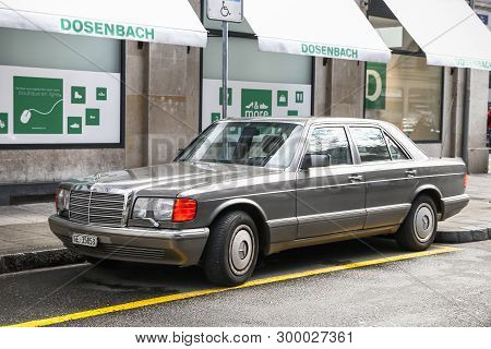 Geneva, Switzerland - March 13, 2019: Retro Luxury Car Mercedes-benz W126 S-class In The City Street