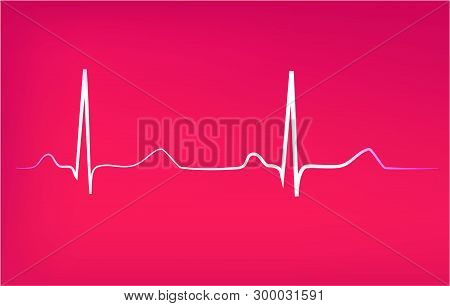 Heart Rhythm Abstract Background, Vector Pink Art