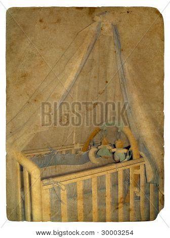 Crib. Old Postcard.