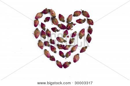 Heart from rose buds