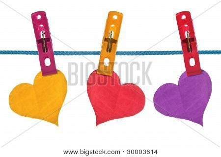 Color Paper Hearts Hung On Clothesline