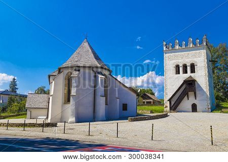 White Church Of St. Anna In The Gothic Style And Renaissance Belfry In Strážky (strazky), Town Spiss