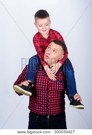 Happiness being father of boy. Parenthood concept. Fathers day. Father example of noble human. Cool guys. Father little son red shirts family look outfit. Best friends forever. Dad and adorable child poster