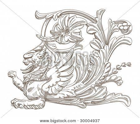 Griffin. Vector decorative element.