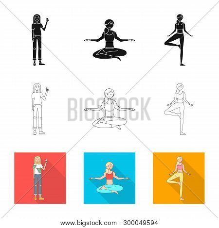 Vector Design Of Posture And Mood Symbol. Collection Of Posture And Female Stock Vector Illustration