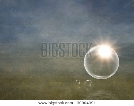 sun flare in bubble