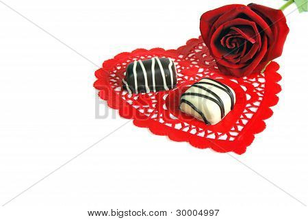 Valentine rose and chocolates