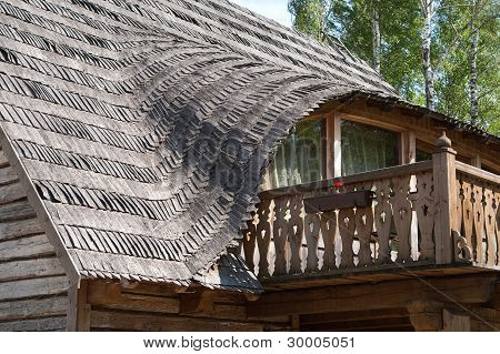 Balcony In Rural Wooden House