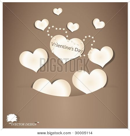 Vintage valentine's paper heart with pearls. Vector Illustration.