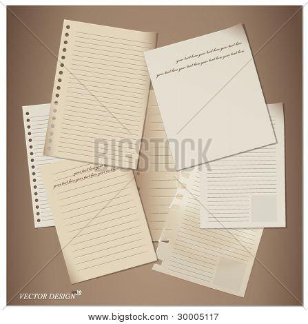 Set of paper sheets. Vector illustration.