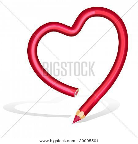 Vector red pencil heart shape