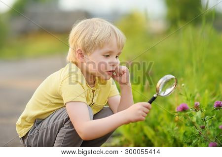 Kid Exploring Nature With Magnifying Glass. Close Up. Little Boy Looking At Flower With Magnifier. S