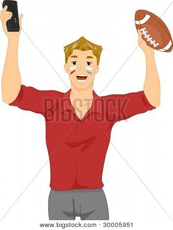 Illustration of a Man holding Football and remote control
