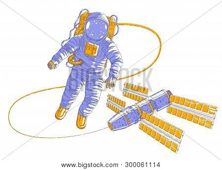 Astronaut Flying In Open Space Connected To Space Station, Spaceman In Spacesuit Floating In Weightl