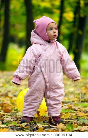 Little Baby Girl In Autumn Leaves