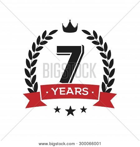 7 Th Birthday Vintage Logo Template. Seventh Years Anniversary Retro Isolated Vector Emblem With Red