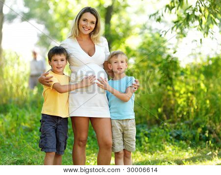 Pregnant Mother With Two Sons