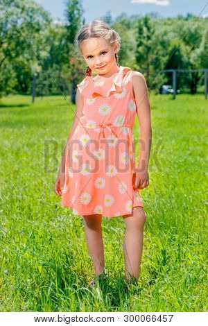 Happy little girl with pigtails in a summer park. Sunny day. poster
