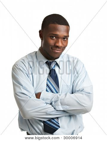Natural Looking Smiling Young African American Businessman on Isolated Background