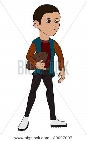 Cartoon child football player