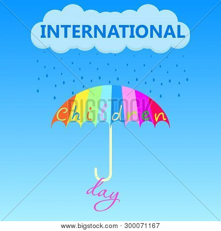 A Multi-colored Umbrella Saves From Unclear Weather On The Holiday Of Childrens Day On The First Of