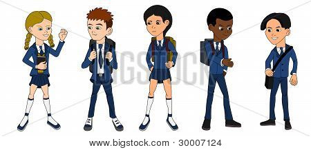 Collection of multiracial school kid