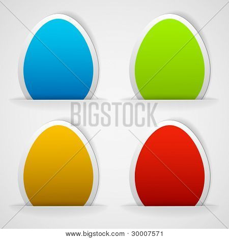 Set of colorful Easter eggs stickers. Vector eps10 illustration