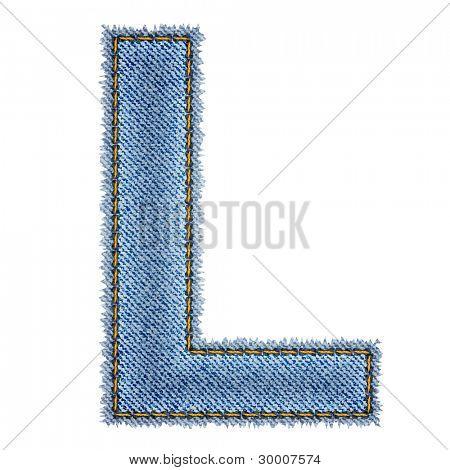 Jeans alphabet. Letter L. Vector eps10 background