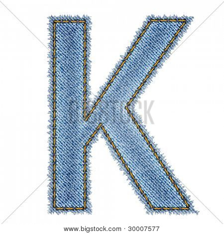 Jeans alphabet. Letter K. Vector eps10 background