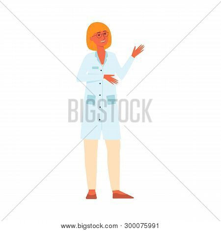 Medical Female Doctor Standing And Gesticulating Cartoon Style