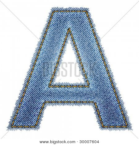 Jeans alphabet. Letter A. Vector eps10 background