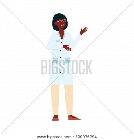 African Female Medical Doctor Standing And Gesticulating Cartoon Style